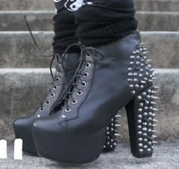 Free drop shipping 2014 new lace up platform pumps fashion ankle boots for women shoes chunky high heels rivets spikes