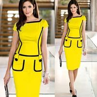 2014 New Women's Square Neck Slim Knee-Length Pocket Party Bodycon Pencil Dress Vestidos Yellow blue Purple 2xl OL dresses