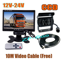 "12V-24V 18 LED 4Pin CCD Car Reversing Camera with 10m cable + 7"" LCD Monitor Car Rear View Kit Free Shipping"