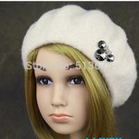 Free Shipping 2014 Cute girls Mitch Crown Crystal Diamond upscale children's winter wool beret hat girls Winter Autumn Hat