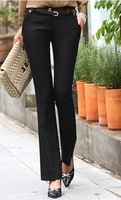 2014 Women Suit Pants Mid Waist Causal Work Cargo Pants Plus Size Ladies Business Autumn Winter Thick  Straight PantsTrousers