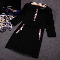 Free shipping! European 2014 autumn new zipper three quarter sleeve dress, women's zipper dress