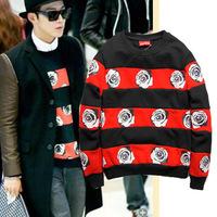Harajuku rose flower mosaic retro round neck fleece sweater hedging influx of men rose pattern sweater