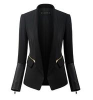 New 2014 women stylish comfortable Leather sleeves zipper decoration jacket coat Slim small suit jacket Ladies casual Blazer