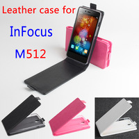 New!10pcs InFocus M512 leather Case + free screen protector+Free Ship! Flip Up and Down Cover