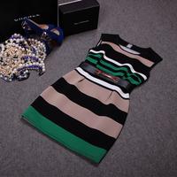 Free shipping! European 2014 autumn new fashion striped sleeveless dress, women's  stirped tank dress
