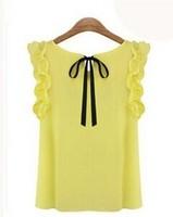 2014 New Fashion Women Summer O-neck lotus leaf pullover lacing bow chiffon shirt top women's Chiffon blouse