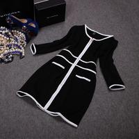 Free shipping! European 2014 autumn new PU patchwork three quarter sleeve dress, women's PU contrast color dress