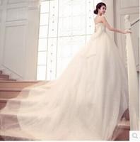 Wedding Dress 2014 New Arrival Vintage Style Tube Top Lace Up Silm Princess Wedding Dress Long Train Custom Made