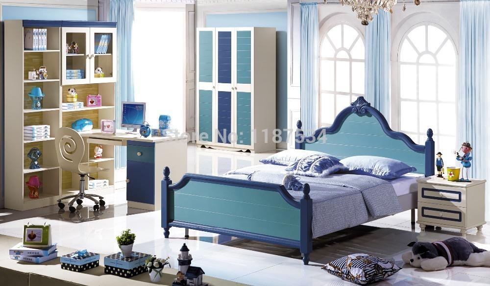 6606# Children bedroom furniture set wardrobe nightstand bed and desk four pieces bedroom furniture set(China (Mainland))