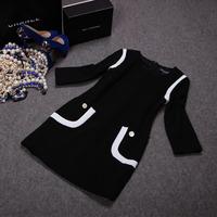 Free shipping! European 2014 autumn new white and black patchwork  three quarter sleeve dress, women's  dress