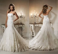 2015 year New Arrive Strapless Wedding Dresses Sleeveless Floor-length Zipper Lace Beading Appliques Wedding Gown