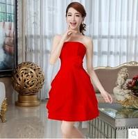 Korean Style Tube Top Slim Red Chiffon Princess Wedding Formal Dress for Bride Flower Wedding Dress Custom Made