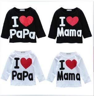 Бесплатная доставка 100% хлопка с длинными рукавами футболка я люблю своего отца мать папа мама, Мальчиков и девочек, Одежда для детей