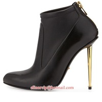 New arrival women gold stiletto metal high heel ankle boots black leather zipped booties Fall and Winter shoes
