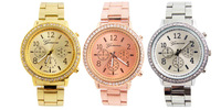 3 Colors Geneva Brand Crystal Wrist  Watch Stainless Steel Watch Men Women Ladies Good Quality Low Price G06