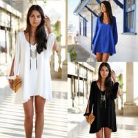 Plus size 2014 New Women Summer  Casual Dress Ladies White blue black A-line Sexy Sleeveless Short Chiffon Dresses