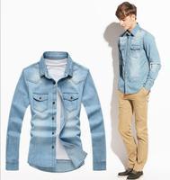 Free shipping 2014 Autumn Men Casual Denim Long Sleeve Shirt Men Shirts Man clothing