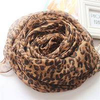 Chiffon Leopard Print Scarf Women Infinity Shawl Winter Scarves 143