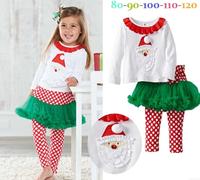 girls Christmas dress suit Girl's long sleeve T shirt + dot culottes  / pants kids clothing autumn baby girls clothing