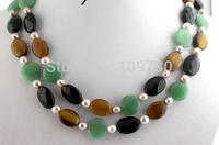 Jewelr 003825 Stunning 2row green jade black agate tiger's-eye purple pearl necklace