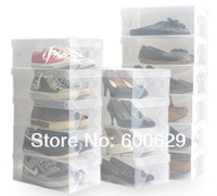 Transparent  Clear  for men  Stackable Crystal Thickening Plastic Shoe Storage Boxes Case Organizer 200pcs/lot