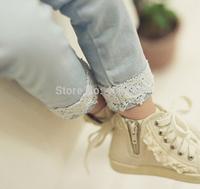 Girls lace denim pants,light blue/navy,5pcs/lot,GD-JLL01