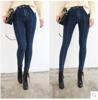 Parallel Line Thread Bodycon Sexy Dark Blue Jeans High Waist Pencil Pants Denim Female Trouser Fashion Skinny Jeans For Women