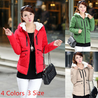 Lanluu High Quality Winter Wear 2014 New Hooded Military Women Wadded Parkas Down Coat SQ904