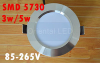 20pcs/lot free shipping New Products! 3w/5W led panel lighting  Downlight AC85-265V,SMD 5730 Warm /Cool white,indoor lighting