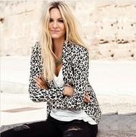 2014 new women leopard blazer jacket brand coat for split decoration in back plus size