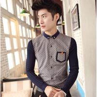 Polka Dot print shirt men 2014 new autumn and winter fashion knitted sleeve stitching Korean Slim casual long-sleeved shirt Men