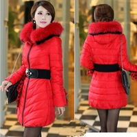 2014 New Winter Fashion High Quality Korean Style Women Long Jackets Down Coat Large Fur Collar Thicken Warm Jacket YYJ320