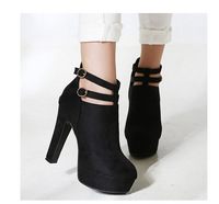 823-20 Classic Double Wrap Buckle Pumps Ankle Boots Platform Thick Heels Shoes Women High Heels Shoes