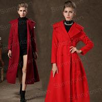 New fashion 2014 autumn winter jackets coat women vintage X-long casual dress coat thicken wool blends work wear red X M L XL
