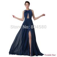 New Fashion Women Floor Length Blue Bandage Dress Split Celebrity Backless Prom Dresses Formal Evening Party Gown CL6281