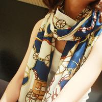 New Arrival Korean Style Fashion Women's Chiffon Wraps Wheel Pattern Long Shawl Scarf YYJ395