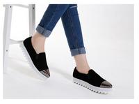 718-2 Concise Women Flats Platform Shoes Slip-on Metal Point Toe Shoes Casual Shoes Women Shoes