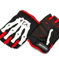 Neverland Pro Bone Skeleton Perforated Motorcycle Fingerless Gloves   High quality