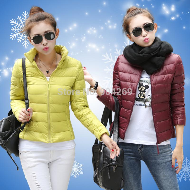 wholesale 20pcs 2014 new women short thin down jacket women winter coats via Express free shipping(China (Mainland))