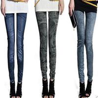 2014 New  Arrival Women Leggings Slim Girls Casual Sport Leggings  Warm Winter Knitted Faux Velvet  Elastic Pants black one size