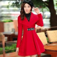 2014 Korean Style Autumn Winter Elegant Women's Wind Coat Women Skirt Dust Coat Turn-down Collar Outerwear YYJ420
