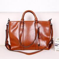 Wax Cowhide Work Bag Portable Shoulder Messenger Bag Genuine Leather Handbag Women's Brown Motorcycle Bag Free Shipping 6178