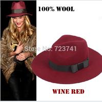 6PCS/Lot Vintage Autumn Winter 100% Woolen Women's Fedora hats Trilby felted Panama Cap Size 56-58CM wholesale