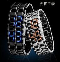 2014 New Fashion Men Women Wristwatch Lava Iron Samurai Metal LED Faceless Bracelet Watch Stainless Steel Sports Digital Watch