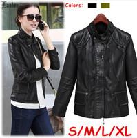 Lanluu New Brand Fashion 2014 Autumn Wear Women PU Short Jackets Motorcycle Coat SQ907