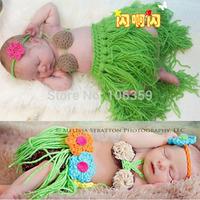 Girl Baby Newborn Beach Hula Grass Skirt Set Crochet Knit Costume Outfit Photography Photo Props Retail H116