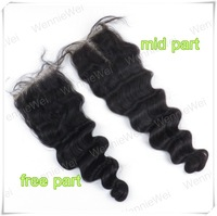 Wennie's high quality 4'' X 4'' Full Lace Closure 8''-24'' 100% Brazilian remy Human Hair Loose wave Handmade Nactural black