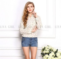 free shipping ! girl's long sleeve turn-down chiffon shirt ladies' big size blouse female anchors print chiffon tops