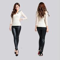 2014 Fashion Arrival Autumn Winter Women's PU Leather Elastic Slim Pants Plus Velvet Thick Leather Pants Boots Cut Trousers